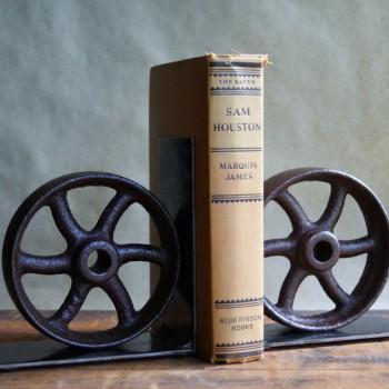 Antique Cast Iron Wheel Bookends