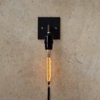 Industrial Steel Sconce with Cloth Covered Cord