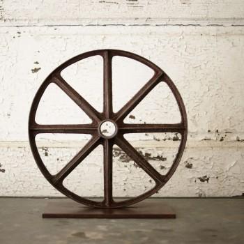 Vintage Cast Iron Wheel Sculpture