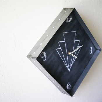 Riveted Steel Chalkboard Clock